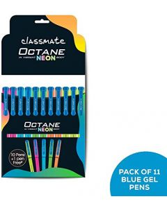 Classmate Octane Gel Pen- Neon Series (Blue)- Pack of 10 Pens + 1 Pen FREE