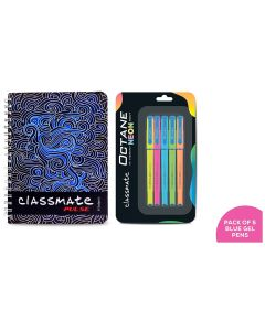 Classmate Pulse 6 Spiral Notebook - 240 mm x 180 mm, Soft Cover, 300 Pages, Unruled& Classmate Octane Neon, Pack of 5