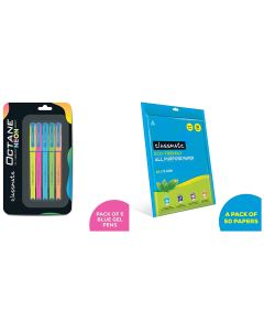 Classmate Octane Neon, Pack of 5&Classmate All Purpose Paper 50 Sheets