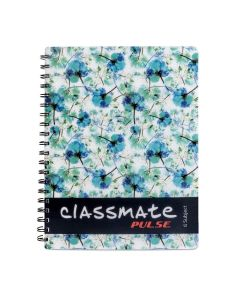 Classmate 2100117 Soft Cover 6 Subject Spiral Binding Notebook, Single Line, 300 Pages