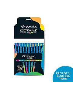 Classmate Octane Gel Pen (BLUE) NEON Series - Pack of 3 (30 + 3 Pens)